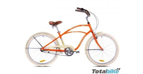 kangee cruiser bicikl - capriolo narandzasti kruzer sa belim gumama