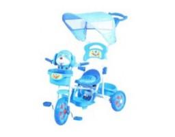 Tricikl sa drškom i suncobranom u obliku psa - Plava boja